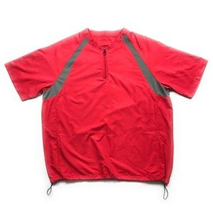 Oakley Red Short Sleeve 1/4 Zip Windbreaker Shirt